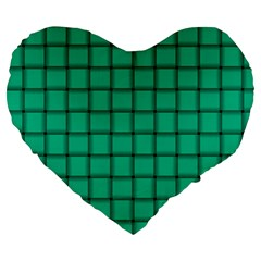 Caribbean Green Weave 19  Premium Heart Shape Cushion by BestCustomGiftsForYou