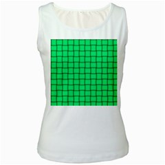 Spring Green Weave Womens  Tank Top (white) by BestCustomGiftsForYou
