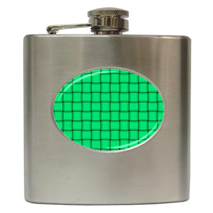 Spring Green Weave Hip Flask