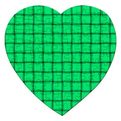 Spring Green Weave Jigsaw Puzzle (heart) by BestCustomGiftsForYou