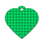 Spring Green Weave Dog Tag Heart (One Sided)  Front