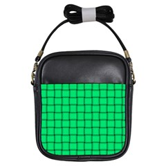Spring Green Weave Girl s Sling Bag