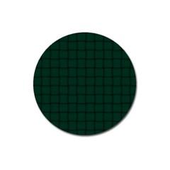 Dark Green Weave Magnet 3  (round) by BestCustomGiftsForYou