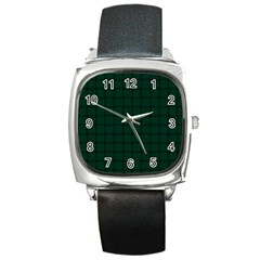 Dark Green Weave Square Leather Watch by BestCustomGiftsForYou