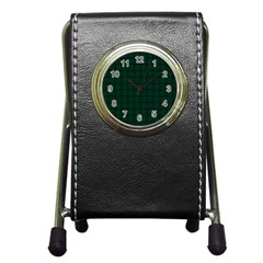 Dark Green Weave Stationery Holder Clock