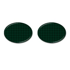 Dark Green Weave Cufflinks (oval) by BestCustomGiftsForYou