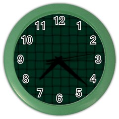 Dark Green Weave Wall Clock (color) by BestCustomGiftsForYou
