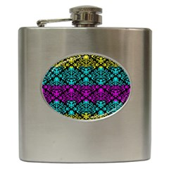 Cmyk Damask Flourish Pattern Hip Flask by DDesigns