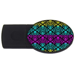 Cmyk Damask Flourish Pattern 4gb Usb Flash Drive (oval) by DDesigns
