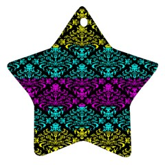 Cmyk Damask Flourish Pattern Star Ornament (two Sides) by DDesigns