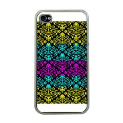 Cmyk Damask Flourish Pattern Apple Iphone 4 Case (clear) by DDesigns