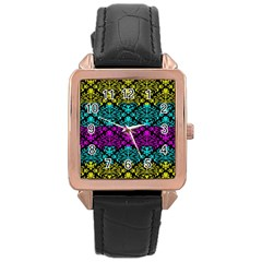 Cmyk Damask Flourish Pattern Rose Gold Leather Watch  by DDesigns