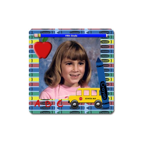 Crayon, Bus, Apple,pencil Frame Magnet Square By Chere s Creations   Magnet (square)   R6p8ff642ifl   Www Artscow Com Front