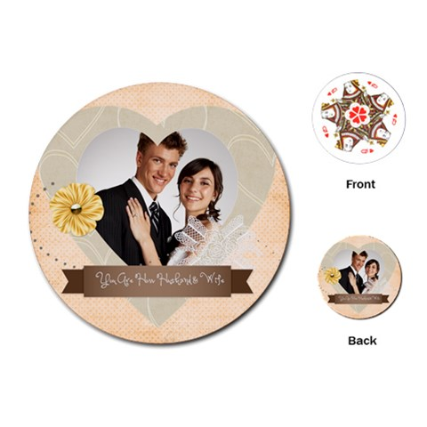 Wedding By Paula Green   Playing Cards (round)   Qt53po52hme4   Www Artscow Com Front