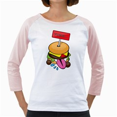 BurgerYUMM Womens  Long Sleeve Raglan T-shirt (White) by Walands