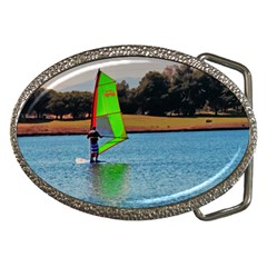 Wind Surfer On The Lake Belt Buckle (oval) by designsbyvee