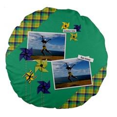 18  Premium Round Cushion : Pinwheels By Jennyl   Large 18  Premium Round Cushion    Ol1b8t81omsj   Www Artscow Com Back