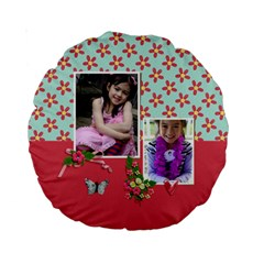 15  Premium Round Cushion : Love Hearts By Jennyl   Standard 15  Premium Round Cushion    9jos86r5dmca   Www Artscow Com Back