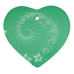 10   Light Green Flowers Heart Ornament by BestCustomGiftsForYou