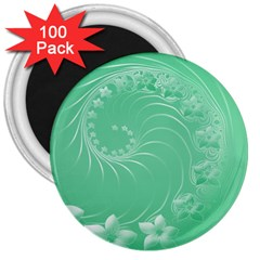 10   Light Green Flowers 3  Button Magnet (100 Pack) by BestCustomGiftsForYou