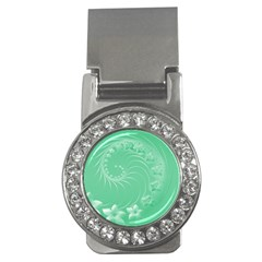 10   Light Green Flowers Money Clip (cz)