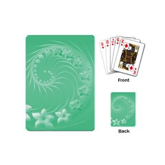 10   Light Green Flowers Playing Cards (mini) by BestCustomGiftsForYou