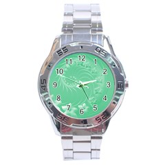 10   Light Green Flowers Stainless Steel Watch (men s) by BestCustomGiftsForYou