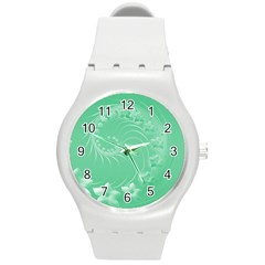 10   Light Green Flowers Plastic Sport Watch (medium) by BestCustomGiftsForYou