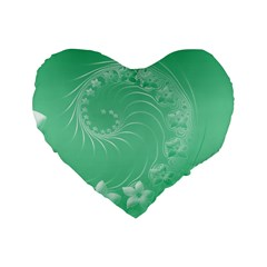 10   Light Green Flowers 16  Premium Heart Shape Cushion  by BestCustomGiftsForYou