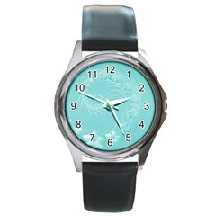 Cyan Abstract Flowers Round Metal Watch (silver Rim) by BestCustomGiftsForYou