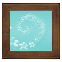 Cyan Abstract Flowers Framed Ceramic Tile by BestCustomGiftsForYou