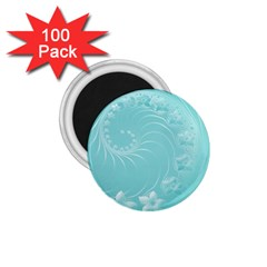 Cyan Abstract Flowers 1 75  Button Magnet (100 Pack) by BestCustomGiftsForYou