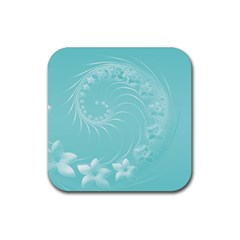 Cyan Abstract Flowers Drink Coasters 4 Pack (square) by BestCustomGiftsForYou