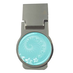 Cyan Abstract Flowers Money Clip (round) by BestCustomGiftsForYou