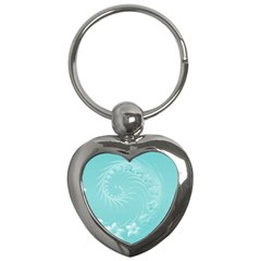 Cyan Abstract Flowers Key Chain (heart) by BestCustomGiftsForYou