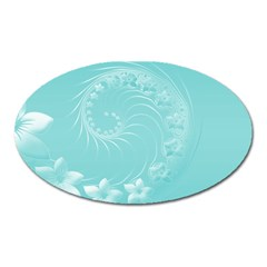 Cyan Abstract Flowers Magnet (oval) by BestCustomGiftsForYou