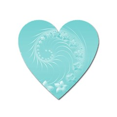 Cyan Abstract Flowers Magnet (heart) by BestCustomGiftsForYou