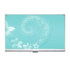 Cyan Abstract Flowers Business Card Holder by BestCustomGiftsForYou