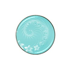 Cyan Abstract Flowers Golf Ball Marker 4 Pack (for Hat Clip)