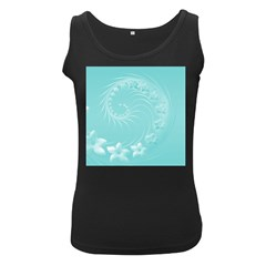 Cyan Abstract Flowers Womens  Tank Top (black) by BestCustomGiftsForYou