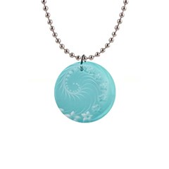 Cyan Abstract Flowers Button Necklace by BestCustomGiftsForYou