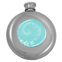 Cyan Abstract Flowers Hip Flask (round) by BestCustomGiftsForYou