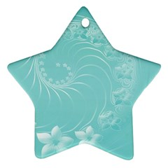 Cyan Abstract Flowers Star Ornament (two Sides) by BestCustomGiftsForYou