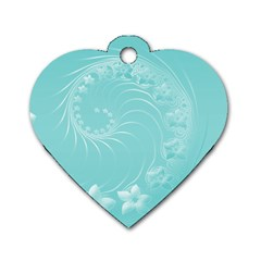 Cyan Abstract Flowers Dog Tag Heart (two Sided) by BestCustomGiftsForYou