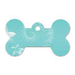 Cyan Abstract Flowers Dog Tag Bone (One Sided) by BestCustomGiftsForYou