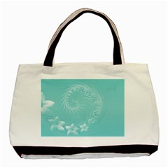 Cyan Abstract Flowers Twin Sided Black Tote Bag