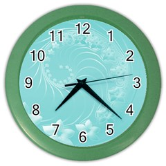 Cyan Abstract Flowers Wall Clock (color) by BestCustomGiftsForYou