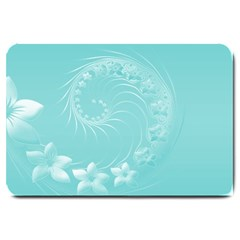 Cyan Abstract Flowers Large Door Mat by BestCustomGiftsForYou