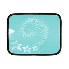 Cyan Abstract Flowers Netbook Case (small) by BestCustomGiftsForYou