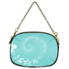 Cyan Abstract Flowers Chain Purse (One Side) by BestCustomGiftsForYou